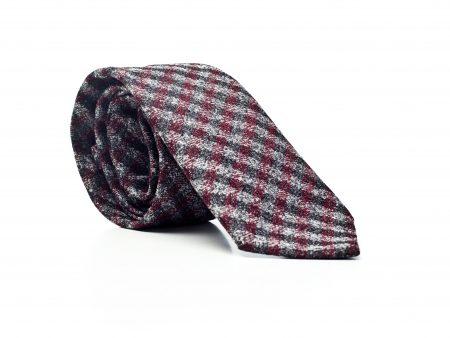 Krawat krzyżówka szary/bordo