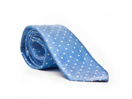 Krawat błękit w białe kropki