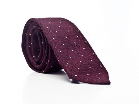 Krawat bordowy żakardowy w kropki ecru