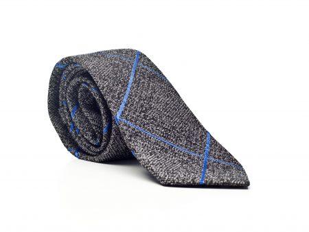 Krawat szary w dużą kratę
