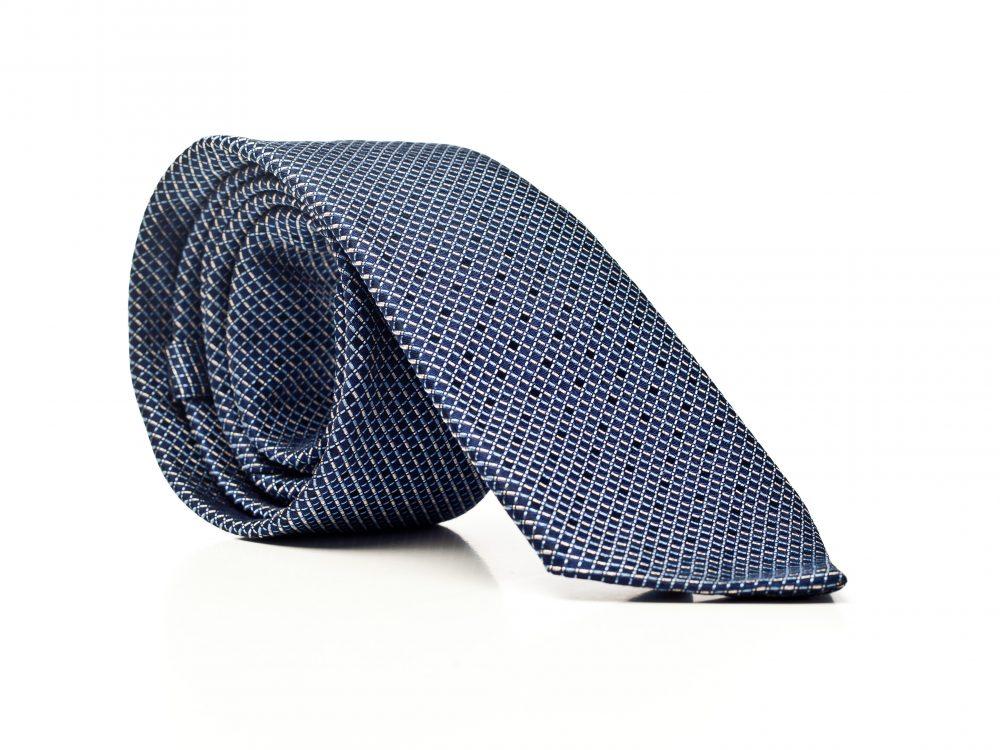 Krawat granat w małe kwadraty