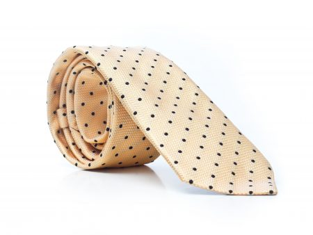 Krawat żółty w czarne kropki